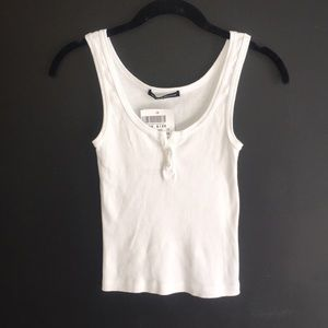 Brandy Melville White Tank Top with Buttons